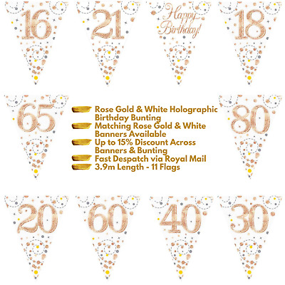 Rose Gold Sparkling Fizz Happy Birthday Party Holographic Bunting 11 Flags 3.9m