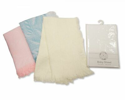 Baby Boys Girls Christening Shawl Wrap Blanket Newborn Gift Leaf White Cream