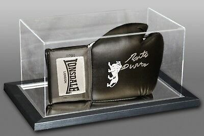 Roberto Duran Signed Black Boxing Glove In An Acrylic Case