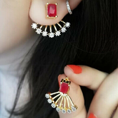 Traditional Fashion Gold Plated Cz Stone Studded Light Ear Cuff Stud Earrings