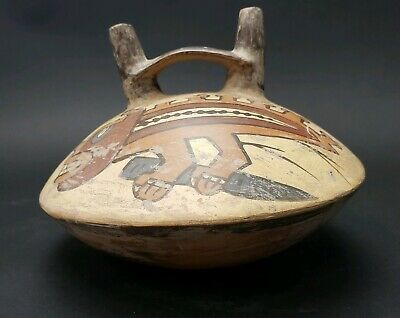 Pre Columbian or Later Nazca Polychrome Double Spout Vessel