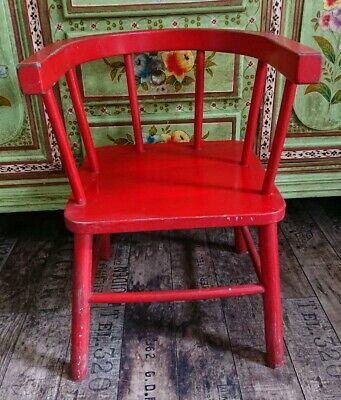 Antique vintage Childs Low back red bentwood armchair stick back wooden original