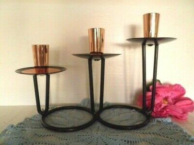 Retro Candle Holder Wrought Iron Copper Mid Century Candle Stick Candleabra 60'S