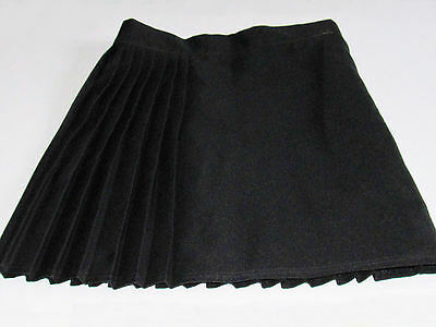 "Girl's Small Black Polyester Pleated Skirt With ""Slide-Clip"" + Velcro Fastenings"