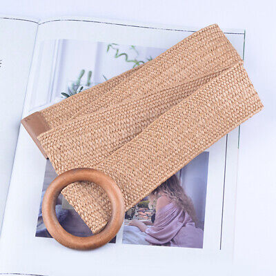 Round Wooden Buckle Elastic Belt For Girl Casual Braided Wide Woven Waistband CA