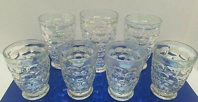 Vtg Clear Opalescent Rainbow Glass Panel Retro Bar Set Lot of 8 Barware Cocktail