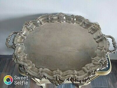 """Royal Limited Silver Plate Oval 22"""" Handled Tray Rococo"""
