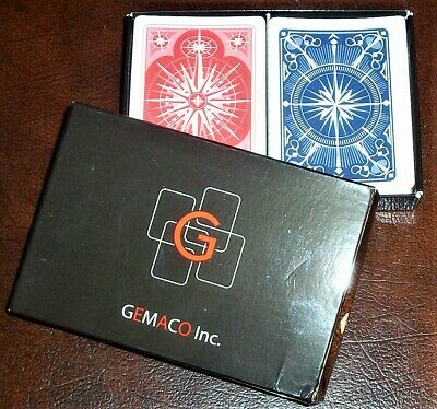 GEMACO Plastic Casino Quality Playing Cards Poker Size Regular Index Red/Blue VG