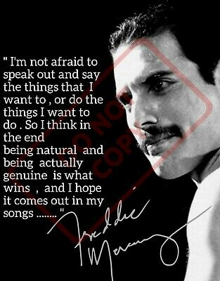 8.5x11 Autographed Signed Reprint RP Photo Freddie Mercury Queen Quote
