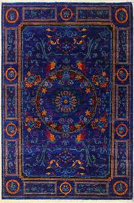 Rugstc 5x8 Senneh Chobi  Blue Rug,Natural dye,Hand-Knotted,Pictorial Hunting,Sil