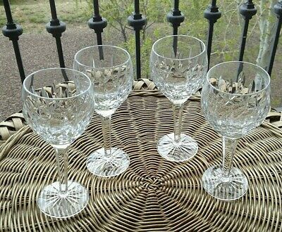 4 Lot Waterford Crystal Lismore Balloon Wine Glass Glasses Goblets - Mint!