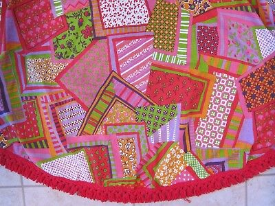 VIntage Mid Mod Fringed Tablecloth Red Multi Patchwork Bates USA Round 82""