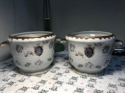Rare Pair of Antique Japanese Porcelain Vase Bamboo Y Sign Hand Painted