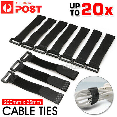 Black Cable Ties Hook and Loop Strap Tape Cable Organizer 200mm x 25mm