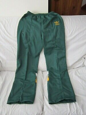 Vintage 1980S Green And Gold Adidas Track Pants Made In Aust Mens Size 20