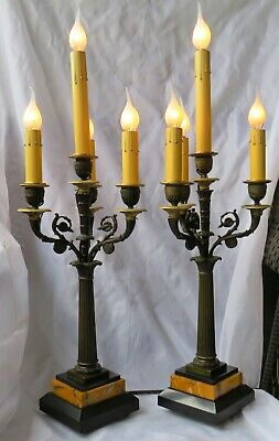 Pair of French Empire Bronze 4 Light Candelabra-Marble Bases-Electrified-C.1850-