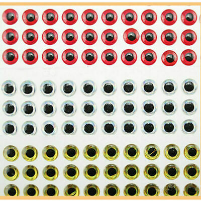 100PCS 3D Fish Eyes Holographic Lure Eyes for FlyTying Jigs Crafts Dolls 8m W6J8