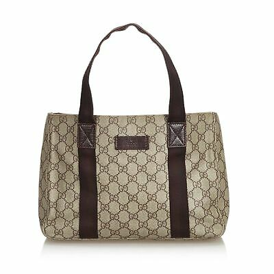 b6273850e Pre-Loved Gucci Brown Beige Coated Canvas Fabric GG Supreme Tote Bag Italy