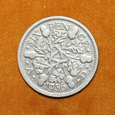 KM# 832 - Sixpence - 6d - Silver (.500) - George V - Great Britain 1936 (VF)