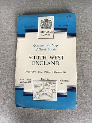 1962 Ordnance Survey Fifth Series Quarter Inch Cloth Map 15 South West England