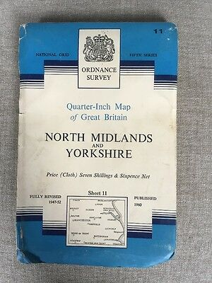 Ordnance Survey 5th Series Quarter Inch Cloth Map 11 North Midlands & Yorkshire