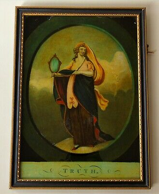 Regency Reverse Painting On Glass Early 19th Century Truth