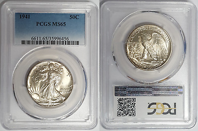 Walking Liberty Half-Dollar 1941(P) Philadelphia Mint PCGS MS65 Gem Uncirculated