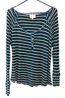 a026be8672 ModCloth Size 1X Dark Green Striped Thermal Henley Long Sleeve Shirt Top