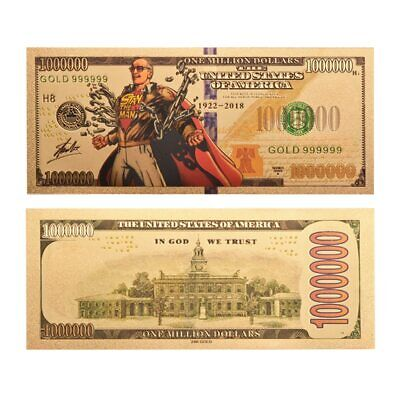 STAN LEE $1 MILLION DOLLAR BANKNOTE 24k GOLD PLATED BANK NOTE