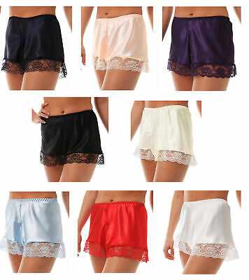 SATIN FRENCH KNICKERS PURPLE WHITE RED BLACK IVORY NAVY PINK PALE BLUE Claret