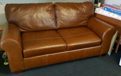 Genuine leather 2 seats sofa bed