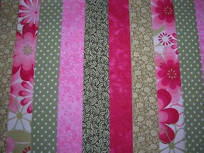 """**Clearance**12 Jelly Roll Strips  Pink & Green  44"""" X 2.5""""  100% Cotton  Nrp"""