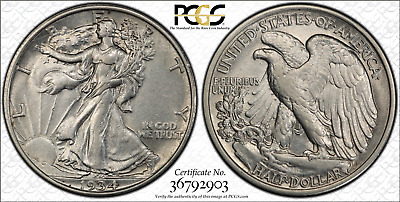 Walking Liberty Half-Dollar 1934(P) Philadelphia Mint PCGS AU53 True View
