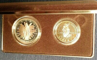 1989 US Congressional Coins 200th Anniversary of Congress Proof Silver & Half $