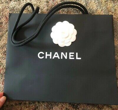 f2197204da5f CHANEL BLACK PAPER NEW SHOPPING BAG WITH WHITE FABRIC CAMELLIA FLOWER  11.75x10x5