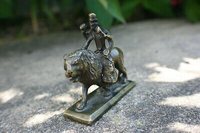 Small Oriental India Bronze Carved Man Riding Lion Figure Statue Ornament