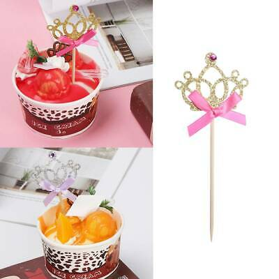 10Pcs//set Crown Cake Topper Food Picks with Ribbon Pink and Gold Cake Decoration