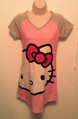 0facfcf07 Hello Kitty ~ Women's Small Nightgown Sanrio Pajamas Pink Gray Sleep Shirt