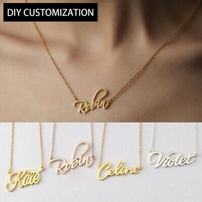Personalized Custom Name Plate Necklace  Stainless Steel Chain Valentine's Gift