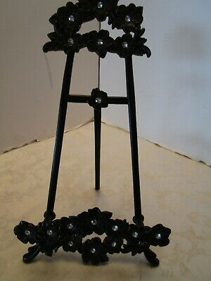 Victorian Style Metal Black Easel Picture Stand holder dogwood Roses rhinestones