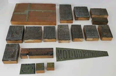 Vintage Lot of Wood & Metal Letterpress Printers Blocks Unknown Subject Matter