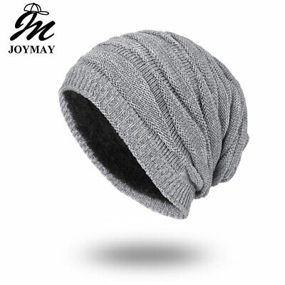 Joymay 2017 Winter Beanies Solid Color Hat Unisex Plain Warm Soft Skull Knitting