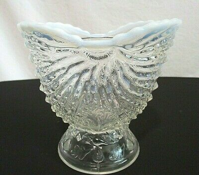 "VTG White Edge Opalescent Clear Glass Ruffled Edge 5""x 5""x 3.5"" Footed Vase Dish"