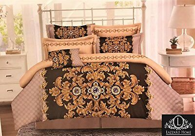 Luxury Damask Flock Cotton King Size Bed Set Duvet Quilt Cover With Pillowcases