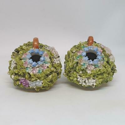Antique Dresden Flower Encrusted 18th Century Vases - Very Rare