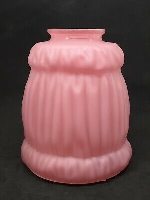 Antique Victorian Pink Satin Cased Crinkled Glass Lamp Light Shade