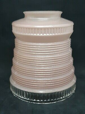 Vintage Pink Art Deco Glass Light Lamp Bee Hive Stack Style Shade 1950's