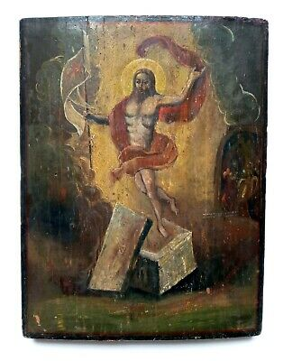 Antique Orthodox Icon Resurrection of Christ Russian Hand Painted Board 33x26cm
