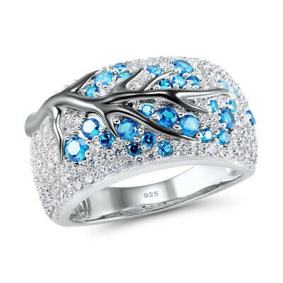 Fashion Sapphire Plum Blossom Tree 925 Silver Ring Women Wedding Jewelry Gifts
