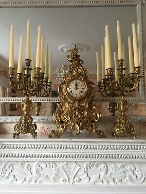 Antique Brass Clock With Ornate matching Candelabras